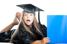 Free Cute Little Girl In Graduation Dress With Blue Boo Stock Photos - 20371123