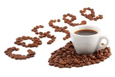 A Cup Of Coffee And The Word Of The Grains Royalty Free Stock Image