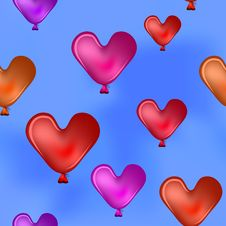 Free Valentine Hearts In The Blue Sky Stock Images - 20375174