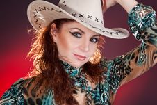 Free Lady In A Cowboy Hat Royalty Free Stock Photo - 20375645