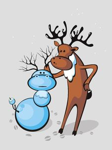 Deer Sculpts Snowman-deer Royalty Free Stock Photos