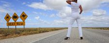 Free Woman Standing On Highway Royalty Free Stock Photos - 20376848