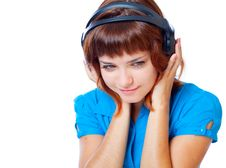 Free Teen-girl Listen To Music In Headphones Stock Photography - 20377062