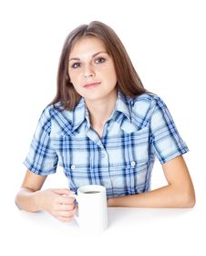 Free A Smiling Girl Is Drinking A Coffee Royalty Free Stock Images - 20377099