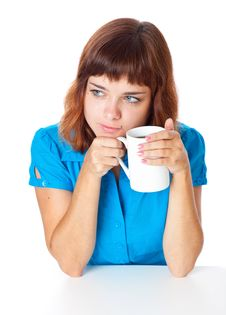 Free A Smiling Girl Is Drinking A Coffee Royalty Free Stock Photos - 20377118