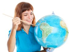 Free Red-haired Girl Is Painting Globe Royalty Free Stock Photo - 20377125