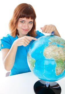 Girl With The Globe Royalty Free Stock Photos