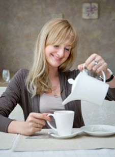 Free Woman Is In Cafe Stock Images - 20377134