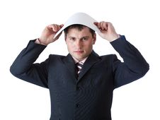 Free A Businessman Is Holding A Paper Above His Head Stock Photos - 20377143