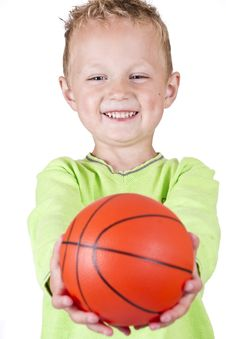 Free Happy Boy Showing Basketball - Isolated Royalty Free Stock Photo - 20378075