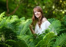 Lady In The Fern Stock Image
