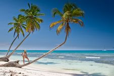Tanned Woman Is Standin On Palm Before Blue Sea Stock Image