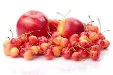 Ripe Cherry, Apple And Nectarine Stock Image