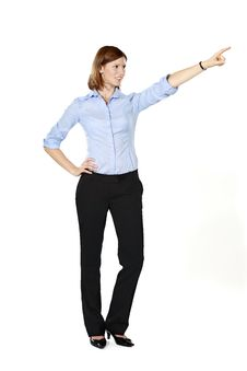 Young Businesswoman Pointing Into The Distance Stock Photography