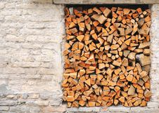 Pile Of Chopped Fire Wood Prepared For Winter Royalty Free Stock Photo