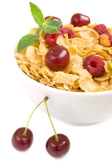 Free Corn Flakes With Berries Royalty Free Stock Images - 20380709