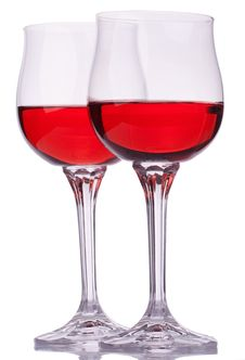 Free Two Red Wine Glasses Stock Image - 20381661