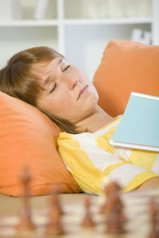 Woman Having Break At Home Royalty Free Stock Image