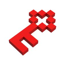 3d Key Pixel Icon Royalty Free Stock Photography