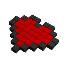 Free 3d Heart Pixel Icon Royalty Free Stock Image - 20383016