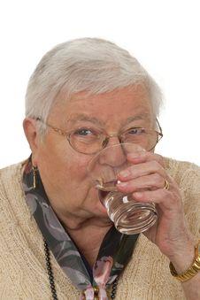 Free Senior Woman Drinking Water Royalty Free Stock Image - 20383546