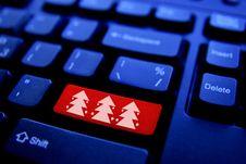 Free Christmas Tree On Computer Key Stock Photos - 20386203