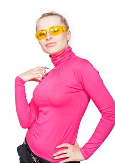 Beautiful Blonde In The Yellow Glasses. Stock Photo