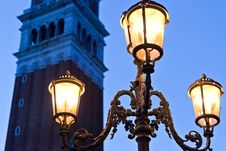 Free Venetian Bell Tower With Lamp In Evening Royalty Free Stock Photo - 20386505