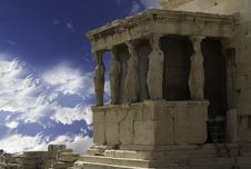 Caryatids In Acropolis Of Athens,Greece Stock Photos