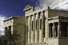 Caryatids In Acropolis Of Athens,Greece Royalty Free Stock Photo