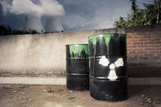 Free Toxic Drum Barrels Outside Nuclear Plant Stock Photo - 20388100