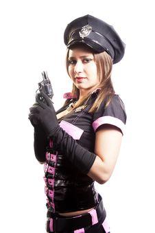 Sexy Police Woman With Gun On White Background Stock Photos