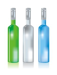 Three Glass Bottles Royalty Free Stock Photography