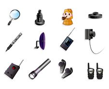 Free Cartoon Detective Equipment Icon Set Stock Photos - 20389043