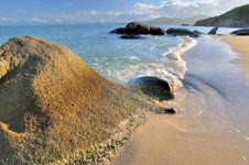 Free Rocky Sea Coast Under Sunset Warm Lighting Stock Image - 20389961