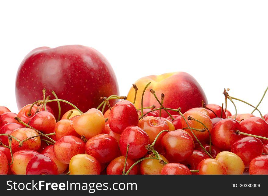Ripe cherry, apple and nectarine