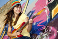 Free Girl With Guitar And Graffiti Wall Stock Photography - 20394642