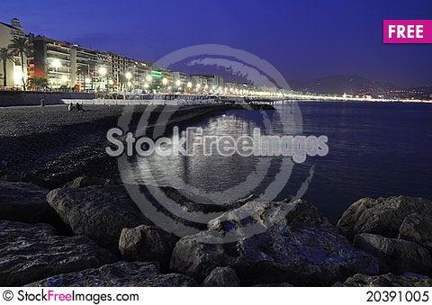 Free Promenade In Nice At Night Royalty Free Stock Photo - 20391005