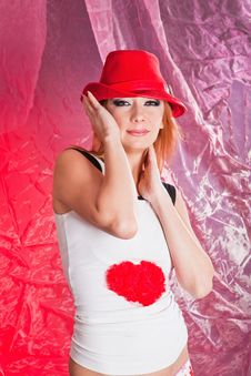 Woman In Red Hat Stock Images