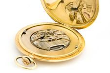 Inside Of A Gold Pocket Watch Stock Photos