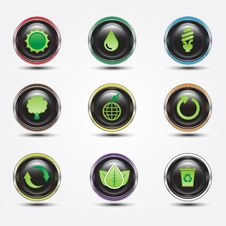 Free Eco Glossy Button Royalty Free Stock Photos - 20390588