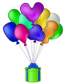 Free Balloons With A Gift Box Stock Photos - 20391163