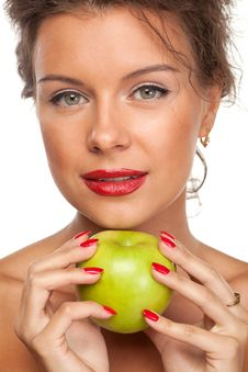 Free Female With Green Apple Royalty Free Stock Images - 20391449