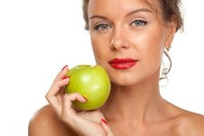 Free Female With Green Apple Stock Photo - 20391470