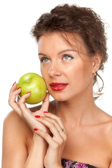 Free Female With Green Apple Royalty Free Stock Photography - 20391487