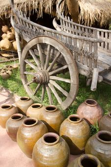 Free Earthen Pots And Buckboard Royalty Free Stock Photography - 20392287