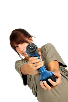 Free Girl With Drill Stock Image - 20392841
