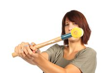 Free Girl With Hammer Royalty Free Stock Image - 20393086