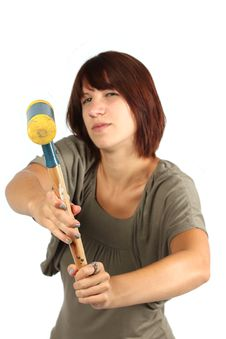 Free Girl With Hammer Royalty Free Stock Photo - 20393115