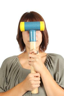 Free Girl With Hammer Royalty Free Stock Photography - 20393177